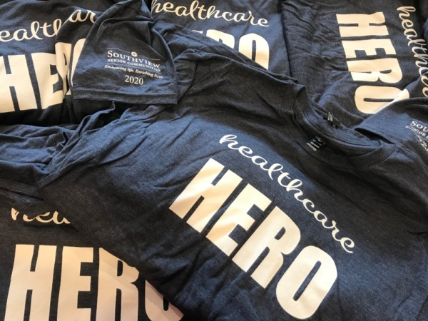 Staff T-shirts commemorating appreciation for our Healthcare Heroes at Eden Prairie Senior Living and all Southview Senior Communities locations.