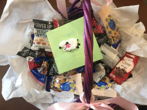 Gift basket sent by family members to express appreciation for our Healthcare Heroes and entire staff here at Eden Prairie Senior Living.